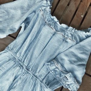 Blue Striped Romper (Off-The-Shoulder)